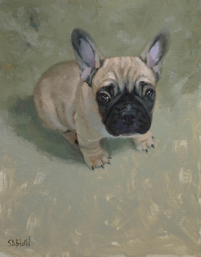 An oil painting of a French bulldog puppy