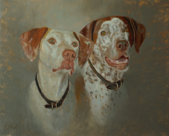 An oil painting of two dogs Tater and Madeleine by artist Simon Bland