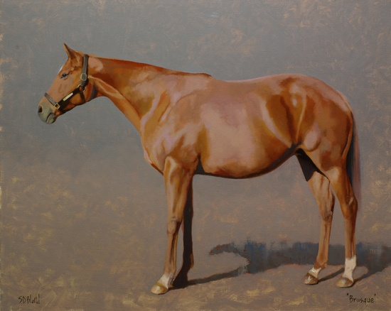 Oil painting of a broodmare, Brusque.