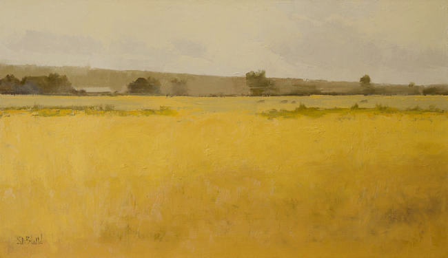 An oil painting with heavily textured deep yellow foreground done in a limited palette.