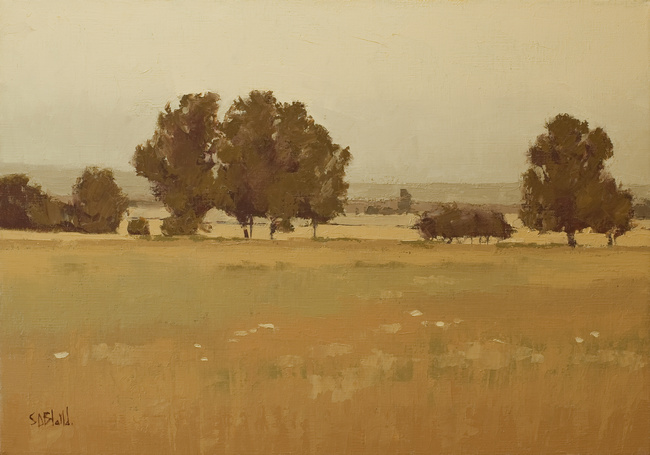 An oil painting of a farm landscape created with an analogous palette by artist Simon Bland