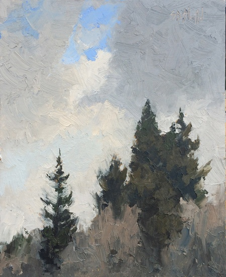 A plein air oil painting of the ridge line overlooking Golden Gardens Park in Ballard, WA.
