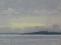 A  plein air oil painting done on location at Golden Gardens Park in Ballard, WA of the view across Puget Sound to Bainbridge Island.