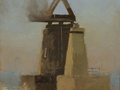A plein air oil painting of the Ballard Rail Bridge done from the Magnolia side of Salmon Bay inlet in Seattle, WA