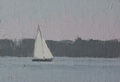 Small oil painting of a yacht on Puget Sound.