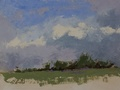 A plein air painting of a lavender farm.