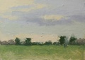 A plein air oil painting of the sky above the front field at Meadow Grove Farm in Upperville/Bluemont, VA