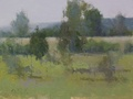 An abstract landscape painting of Meadow Grove Farm in Upperville, VA
