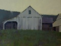 An oil painting of barns at Stoney Point Farm in Hillsboro, VA.