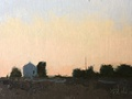 Sunset sketch. A small painting of the light in the evening sky in oil on linen.