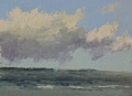 An oil painting done on location of cloud formations over Puget Sound.
