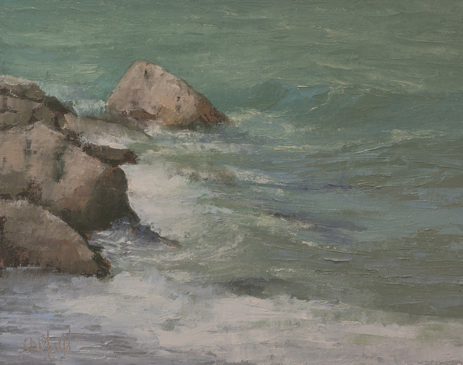 A painting of waves crashing into rocks
