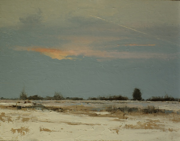 A painting of dawn over winter fields by artist Simon Bland