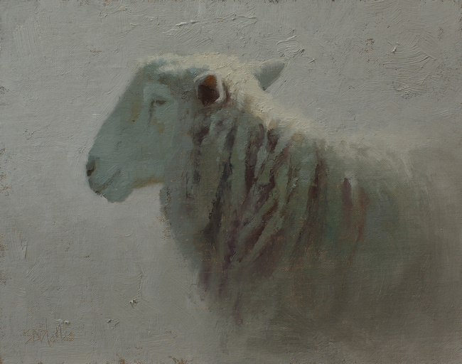 An oil painting of a sheep set in a diffuse gray light by artist Simon Bland