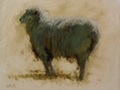 Oil painting of a ram at Willow Hawk Farm in Lovettsville, VA