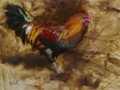 An oil painting of the rooster at George's Mill Farm in Lovettsville, VA.