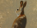 An oil painting of a rabbit.