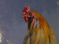 Oil painting of a rooster's head.