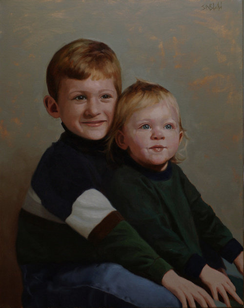 Oil portrait by Simon Bland: The Potter Children, Warrenton, VA