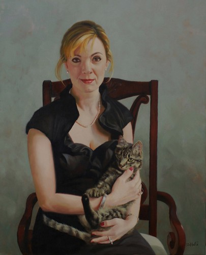 Oil portrait of Katherine and Gus by Simon Bland