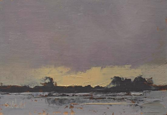 Oil painting of the winter sky over fields