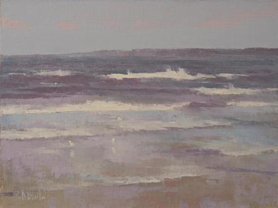 An oil painting of waves at Ballard Beach