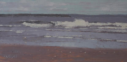 An oil painting of the beach at low tide