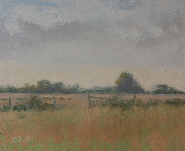 An oil painting of sheep in a field. The picture features a warm palette with minimal use of green.