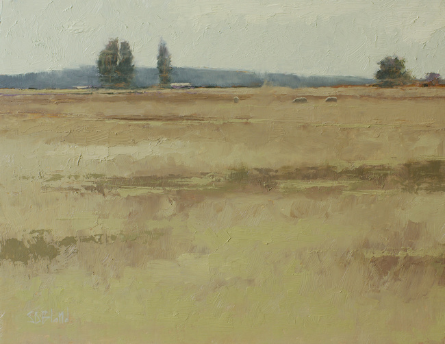 A high key oil painting of sheep in an open field with distant horizon line. Cottonwood trees are seen in the distance.
