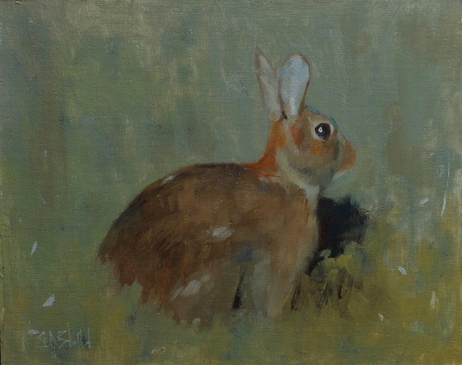 An oil painting of a rabbit set against a gray-green background