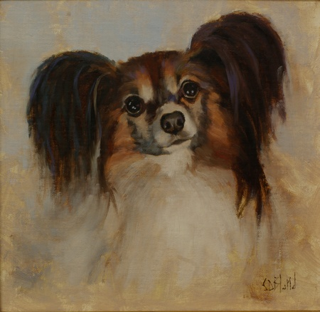 An oil painting of papilion dog Buddy.