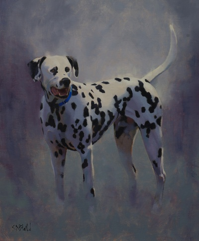 An oil painting of Elvis the dalmatian.