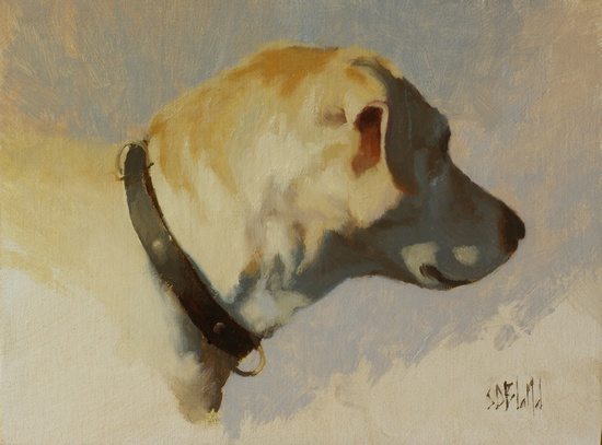 An oil painting of our yellow lab Hannah