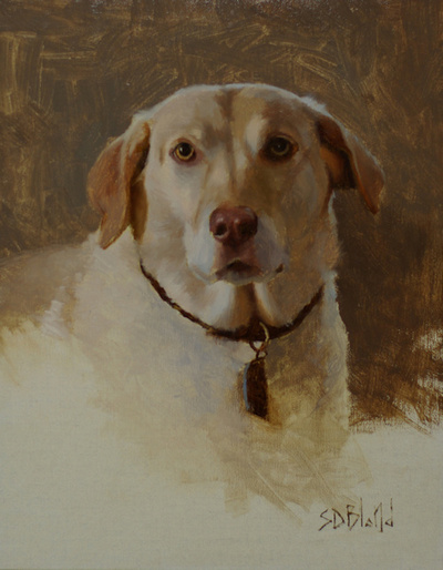 Oil painting of yellow lab Hannah