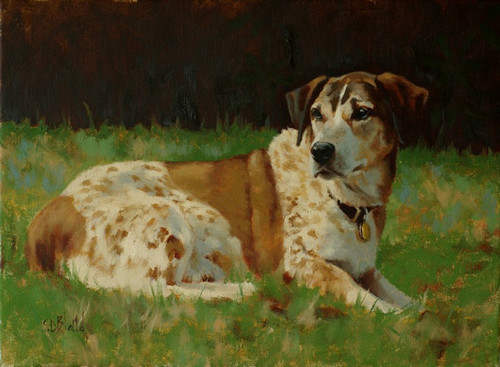 Oil portrait of basset mix dog Harry