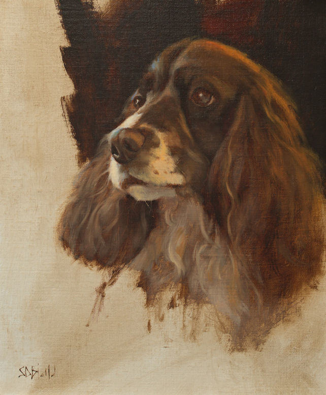 An oil painting of an English springer spaniel with dark vignette.