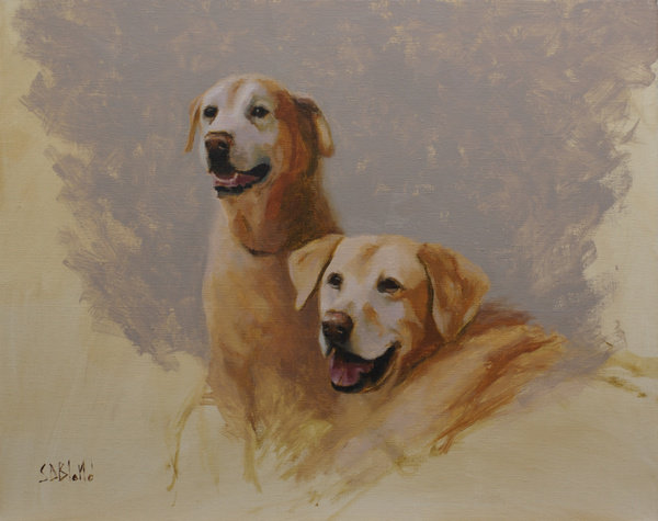 Oil portrait of labs Jake and Chase