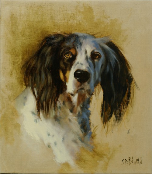 Oil portrait of English Setter Lady