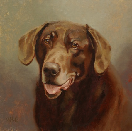 An oil painting of a chocolate lab, Phish.