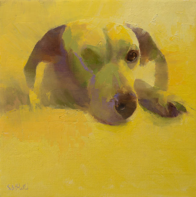 An abstract oil painting of a dog with yellow background.