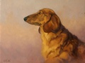 A portraits of a long haired dachshund by artist Simon Bland