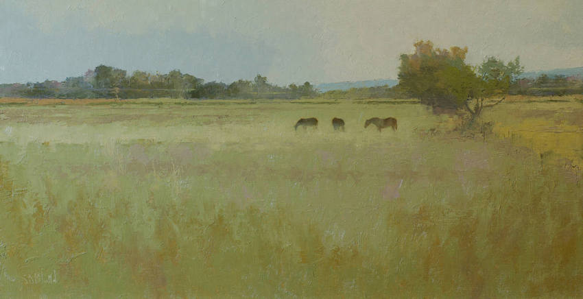 Oil painting of horses in a field by artist Simon Bland
