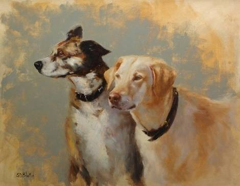 A portrait of a yellow lab and a cattle dog in oils by artist Simon Bland