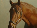 Oil painting of a horse named Warlock