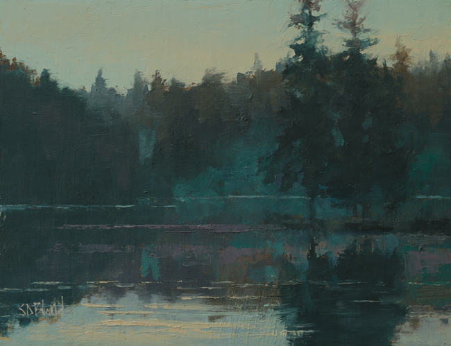 An oil painting of the Pacific Northwest Shoreline with blue-green atmospherics