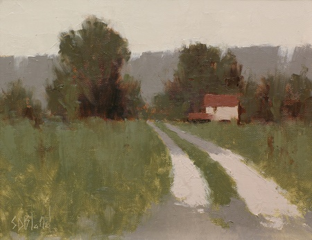 A painting of a house and driveway off Elvan Road in Lovettsville, VA.