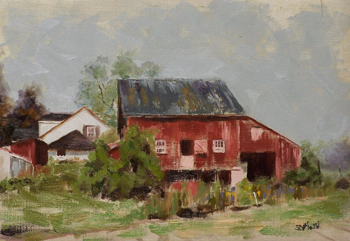 Oil painting of the barn at Fields of Flowers, Purcellville