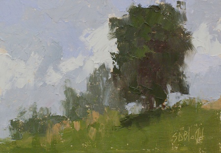 Plein air oil painting of fields at Blooming Hill Farm in Purcellville, VA