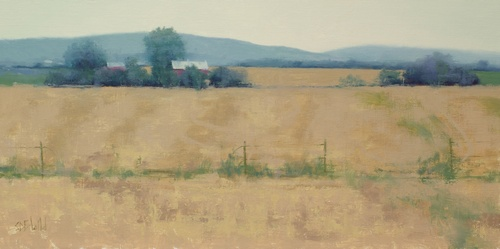 An oil painting of a landscape in Jefferson, MD (Frederick County). The red barn and mowed fields are by the side of the main road.