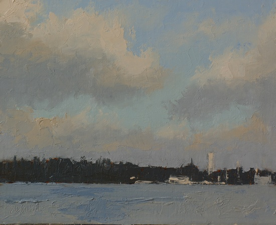 A plein air oil painting of the view from South Lake Union Park across to the University District.